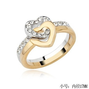 2016 New Jewelry Double Heart Mineral Crystal Fashion Rings For Women CR23 ABC