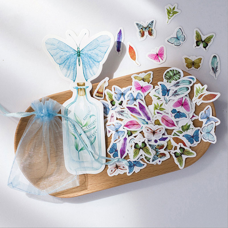 100pcs/ kawaii Creative butterfly Sticker child DIY toy Calendar Album Deco sticker scrapbooking planner sticker material
