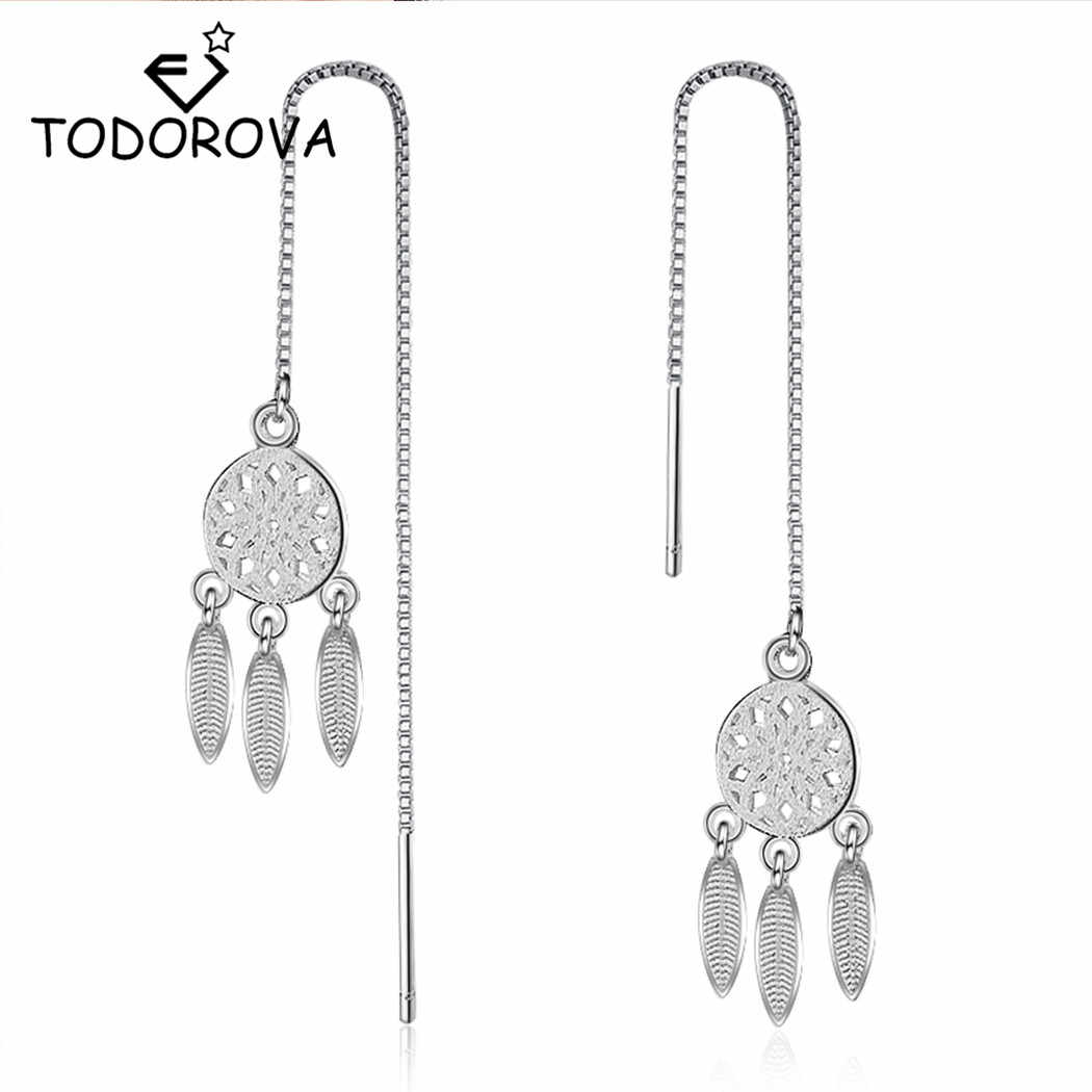 Todorova  Plated Dream Catcher Dreamcatcher Feather Tassel Drop Earrings for Women Long Chain Dangle Earrings Jewelry