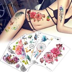 Цветочная наклейка с птицами 1 шт. поддельные женские и мужские DIY хна для Боди Арта тату дизайн HB556 бабочка ветка яркая временная татуировка ...