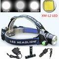 Zoomable Farol 3800LM CREE XML L2 LED Farol Recarregável Head Lamp Luz Para Caça Camping + 2x18650 bateria/carregador