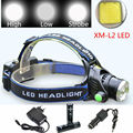Zoomable Headlight 3800LM CREE XML L2 LED Headlamp Rechargeable Head Light Lamp For Hunting Camping+2x18650 battery/Charger