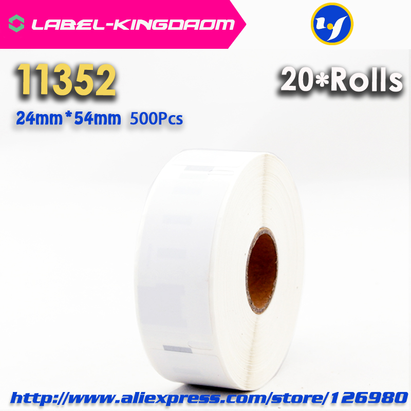 20 Rolls Dymo Compatible 11352 Label 25mm 54mm 500Pcs Roll Compatible for LabelWriter400 450 450Turbo Printer