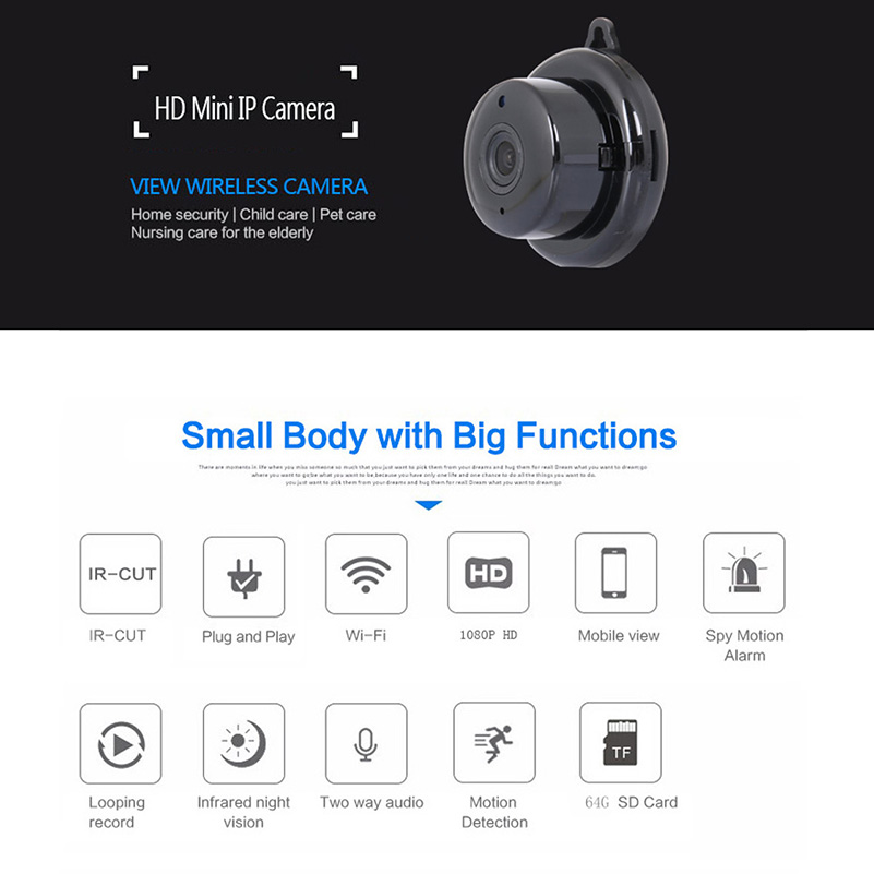 Image 5 - HD 1080P Mini Wireless WIFI IP Camera Motion Detect Alarm Night Vision Mini Camcorders for Home Security Mobile View CCTV Camera-in Mini Camcorders from Consumer Electronics