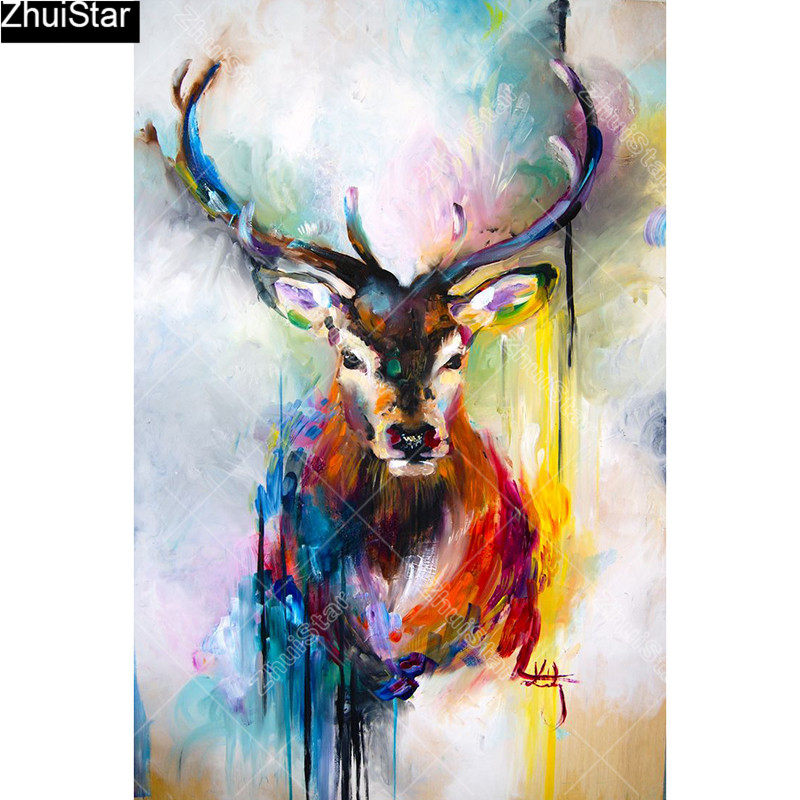 Nine Color Deer 5D DIY full squareround diamond painting full diamond embroidery painting cross stitch kit home decoration gift