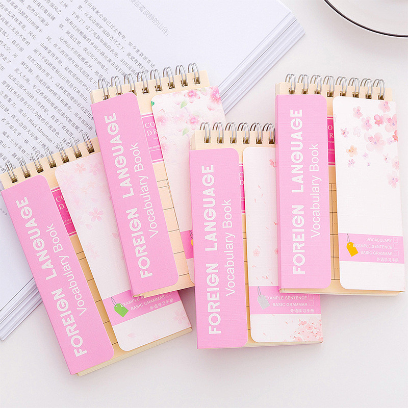 Coloffice 2PCs Small Fresh Romantic Pink Cherry Blossom Series Coils Students Notebooks Girls Gifts Office Supplies 13*7.5cm