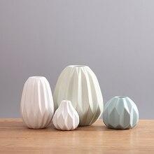 Creative nordic style origami vase ornament Ceramic home decor Flower bottle Modern Tabletop Vase for wedding