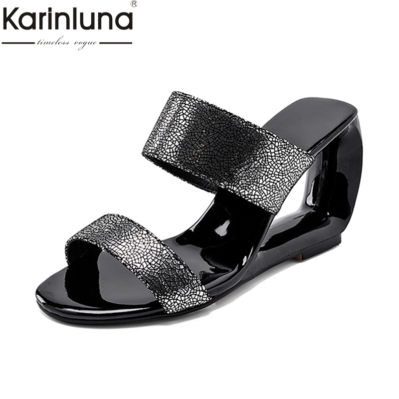 KarinLuna Fashion <font><b>sexy</b></font> Big Size 33-43 <font><b>Hot</b></font> <font><b>Sale</b></font> Slip On <font><b>Summer</b></font> Sandals Woman Shoes Strange Shoes Woman mules Sandals image