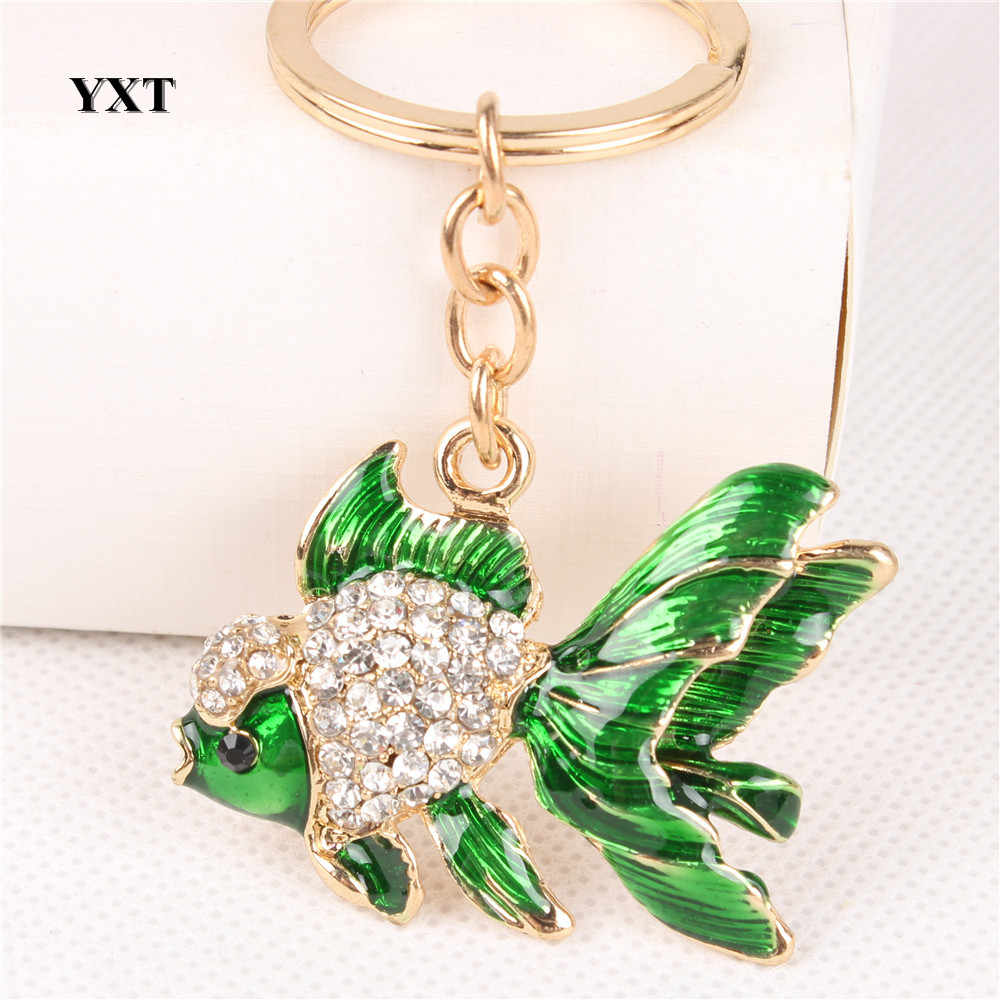 Lovely Goldfish Fish Cute Crystal Rhinestone Charm Pendant  Purse Car Key Ring Keychain Party Favorite Gift High-quality