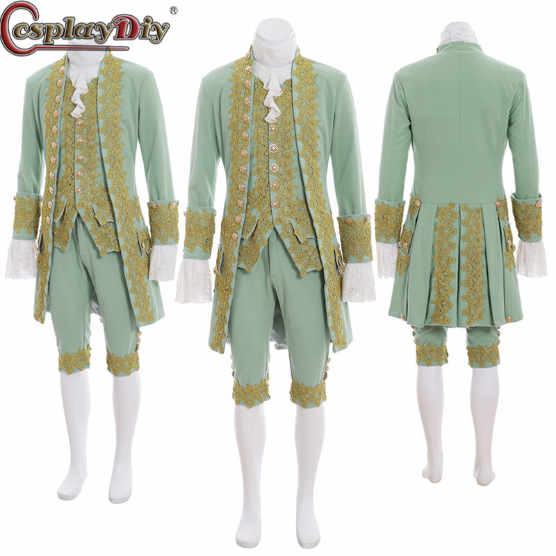 Cosplaydiy Adult Mens Victorian Elegant Gothic Aristocrat 18th Century Gentleman Cosplay Medieval Royal Suits Costumees