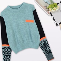 New 2017 Autumn Fashion Women S Sweater Green Patchwork Jacquard Knitted Poncho Tops Casual O Neck
