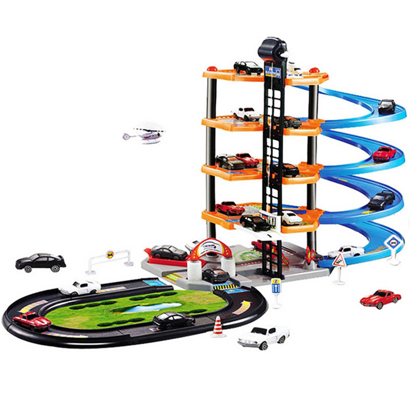 3D DIY Car Parking Lot Model Assembly Racing Rail Train Track Model Toy Railway Transportation Building Slot Sets For Boy Gifts