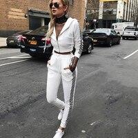 Black white plaid tracksuits women hoodies two piece set sporting suit clothes