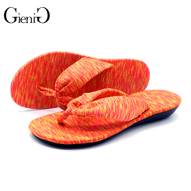 GieniG 2018 slippers women summer fashion soft soles casual sandals flat with flower print women flip flops coolfar 2016 new summer print sandals wedges polka dot slippers girls thick soles casual solid med cork flip flops