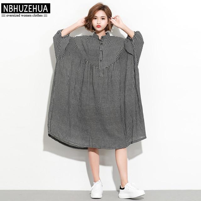 NBHUZEHUA 7G882 Plus Size Dress Women Summer Vintage Plaid Shirt Dress Half  Sleeve Loose Female Large Size Dresses 4XL 5XL 6XL-in Dresses from Women\'s  ...