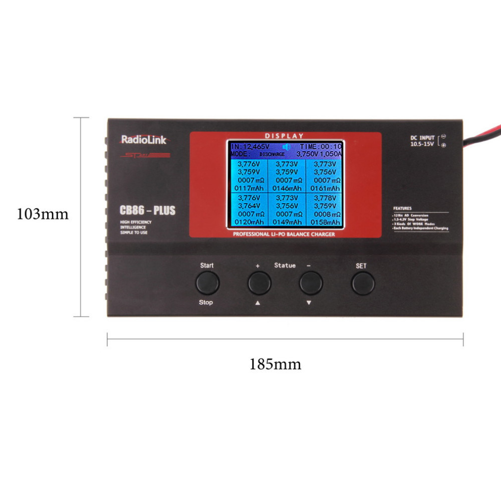 1pcs Radiolink Balance Charger CB86 Plus for 8pcs 2-6S Lipo Battery at one time Professional For RC Lipo Battery
