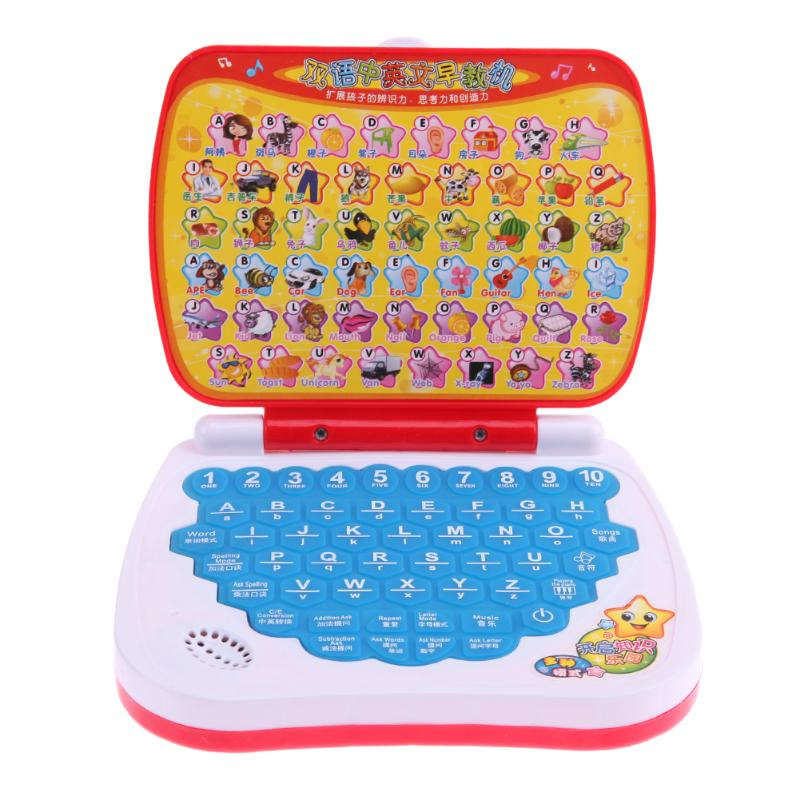 Multi-function Bilingual Reading Machine Kids Fodable Mini Learning Machine <font><b>Laptop</b></font> Computer Early Educational <font><b>Toys</b></font> random color image