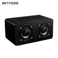 BINYEAE Blutooth Speaker Singing Portable Vintage Wood Wireless Speaker with TF Card Mini Microphone Subwoofer Computer Audio