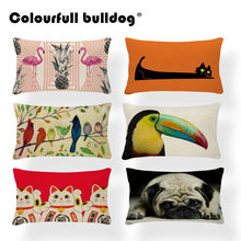 Animal Bird Cushion Cover Dachshund Dog Pillow Case Geometry Classic Couch For Sofa Pillow With Cover Flamingo 30X50Cm Polyester
