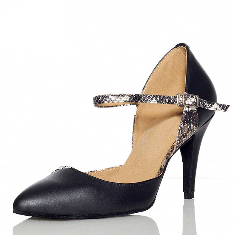 Black Leather Latin Dance Shoes