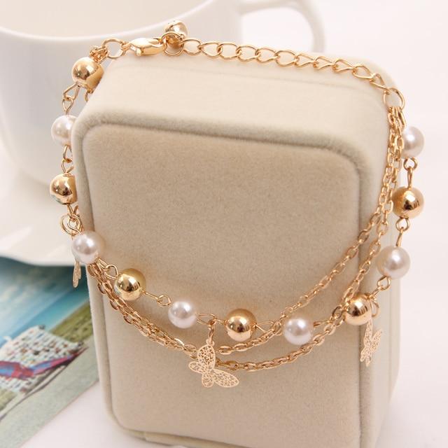 2018 Gold Farbe Multilayer Perlen Anhänger Armbänder und Armreifen Mode Frauen Herz Schmetterling Charme Armband Schmuck Zubehör