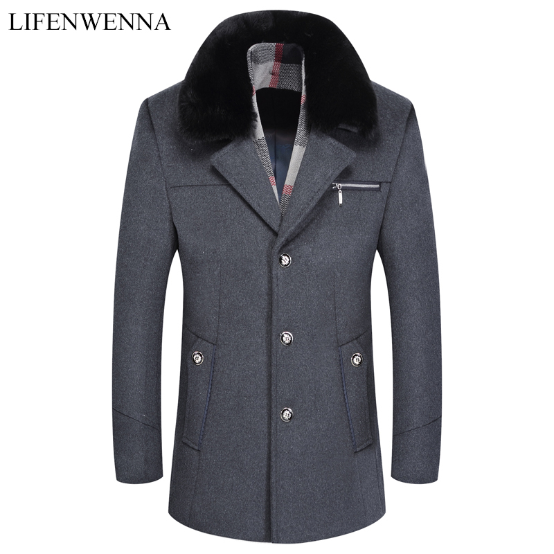2019 New Arrival Men's Woolen Coat Autumn Winter Fashion Design Trench Coat Men High Quality Wool Thicked Business Jackets M-3XL(China)