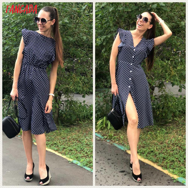 Tangada polka dot dress for women office midi dress 80s 2018 vintage cute A-line dress red blue ruffle sleeve vestidos AON08