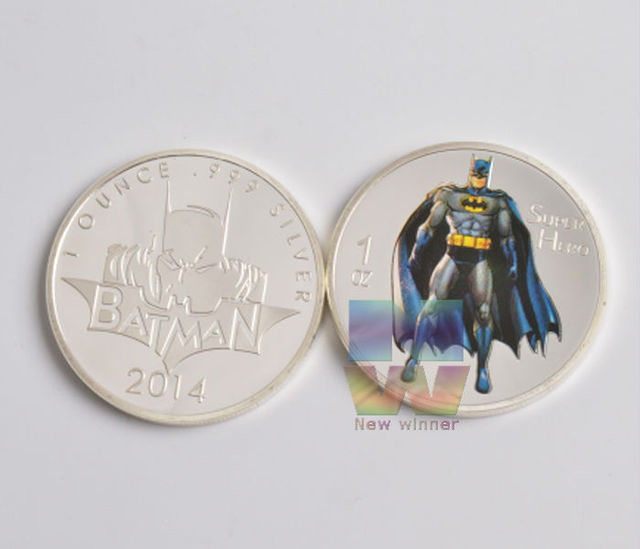 5pcs/lot 1oz Silver color super Hero Batman Coin 999 silver Batman ...