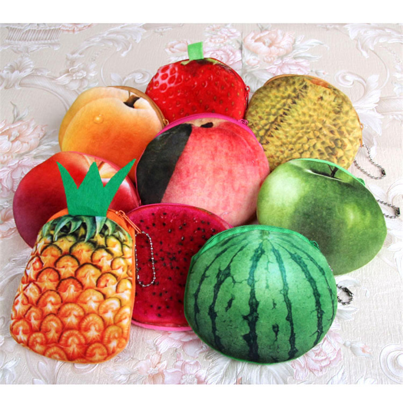 Kids novel 3D fruit purse mini coin bag watermelon apples pineapple peaches women plush small wallet ladies gifts for girls boys novel 3