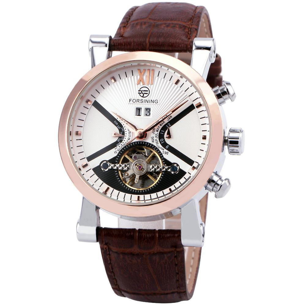 FORSINING BASEBALL Design Men Tourbillon Automatic Mechanical Watch Leather Strap Date Month Display BOX