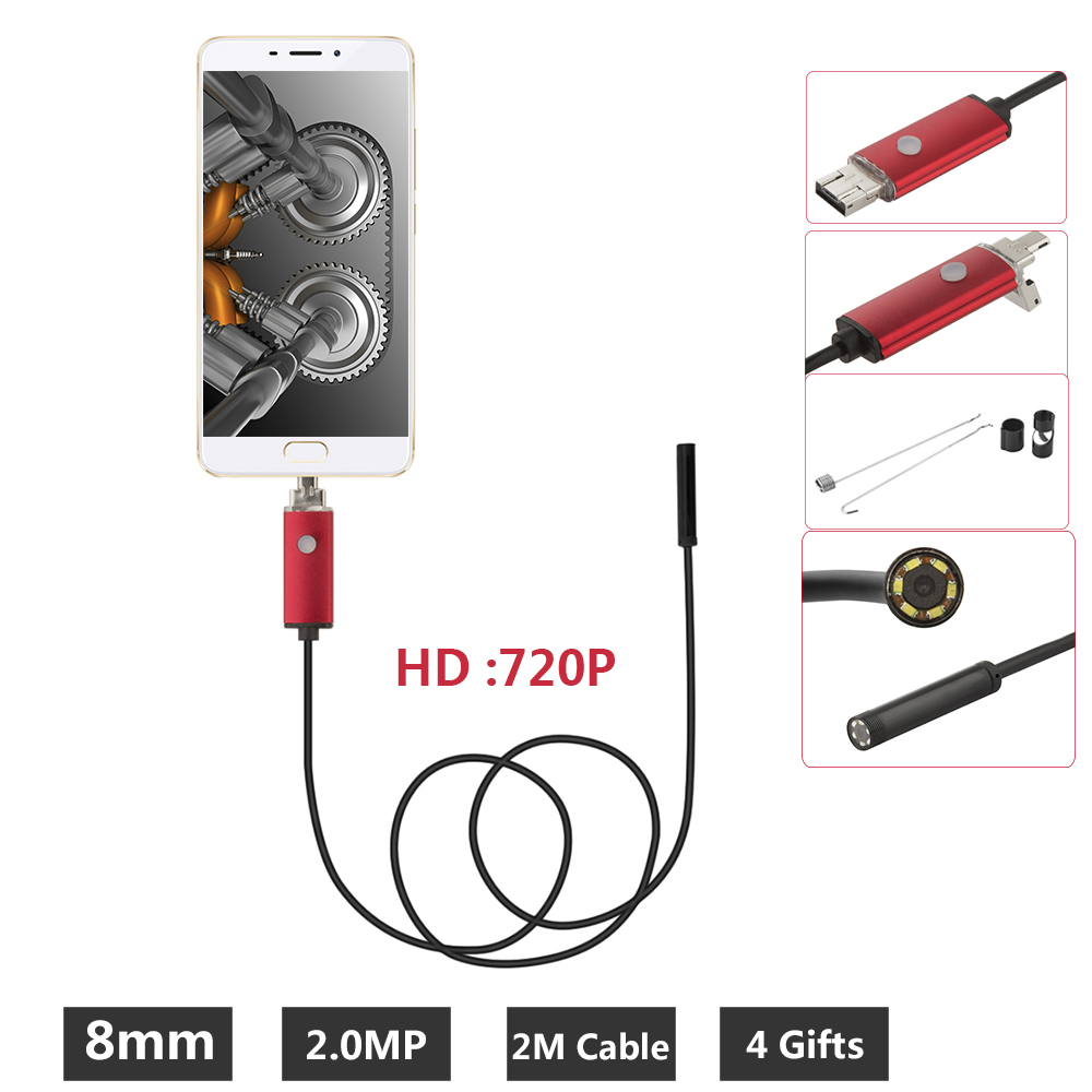 2IN1 PC USB Endoscope Android Camera 8mm 2M  Lens IP67 Waterproof Pipe Borescope Endoscoop Camera Snake Tube Inspection gakaki 7mm lens usb endoscope borescope android camera 2m waterproof inspection snake tube for android phone borescope camera