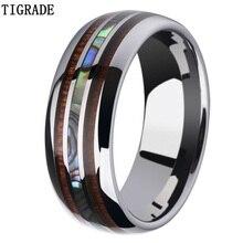все цены на Tigrade 8mm Tungsten Carbide Rings for Man Hawaiian Koa Wood and Abalone Shell Wedding Bands for Men Comfort Fit Custom Engraved онлайн
