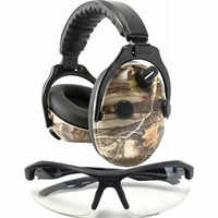 Electronic Ear Hearing Protection Earmuffs with Military Ballistic Clear Anti Fog Scratch Resistant Eyewear for Hunting Shooting