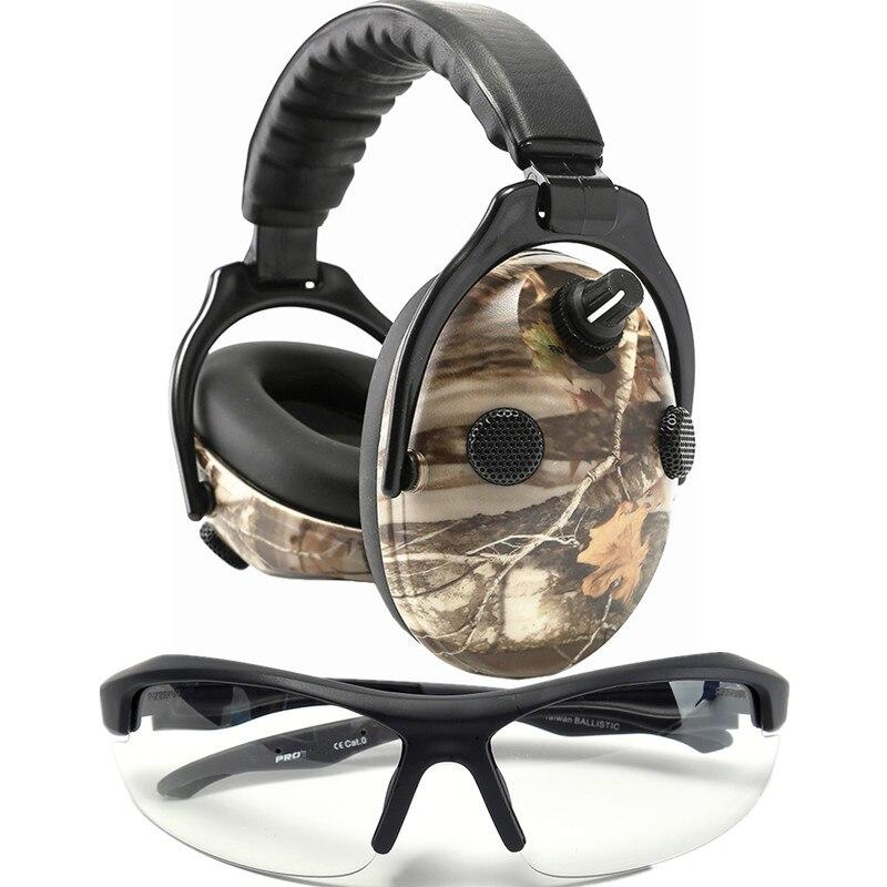 Elektronische Ohr Gehörschutz Ohrenschützer mit Militärischen Ballistischen Klar Anti Fog Kratzfest Brillen für Jagd Schießen