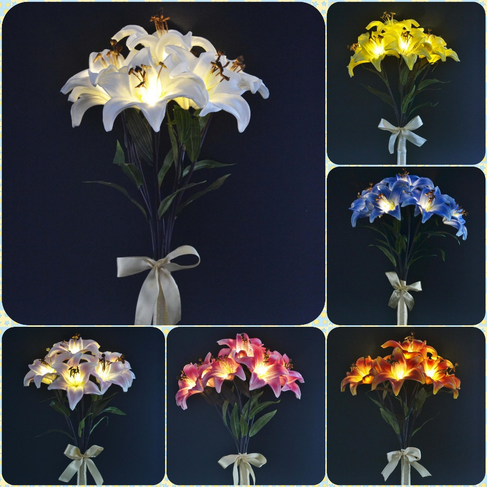 Free Shipping Battery Type Led Blossom Casablanca Lily Bouquet