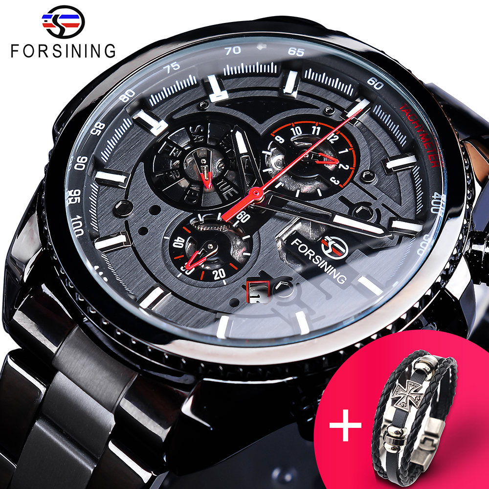 Forsining Watch + Bracelet Set Combination 3 Dials Calendar Black Stainless Steel Mens Automatic Wrist Watches Sport Male ClockForsining Watch + Bracelet Set Combination 3 Dials Calendar Black Stainless Steel Mens Automatic Wrist Watches Sport Male Clock