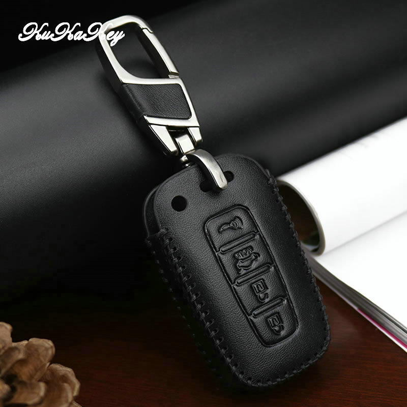 Genuine Leather Car Key Case Cover For HYUNDAI Elantra Sonata Veloster For Kia Soul Sportage Remote Protection Accessories in Key Case for Car from Automobiles Motorcycles