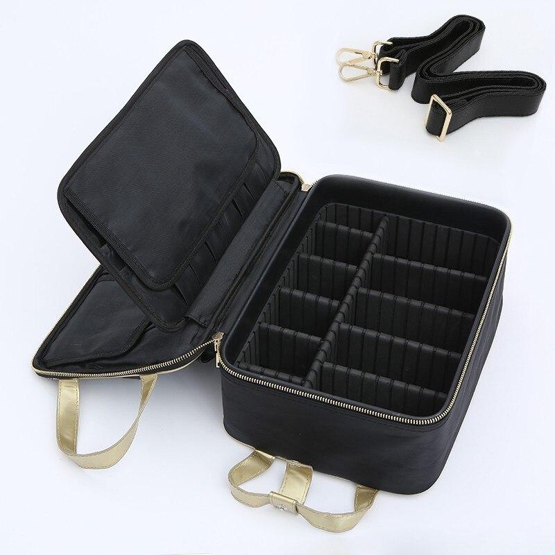 все цены на Fashion Brand Suitcase Three-Layer Cosmetic Box Bag Women Beauty Professional Cosmetic Case for Make Tattoos Nail Mala De Viagem