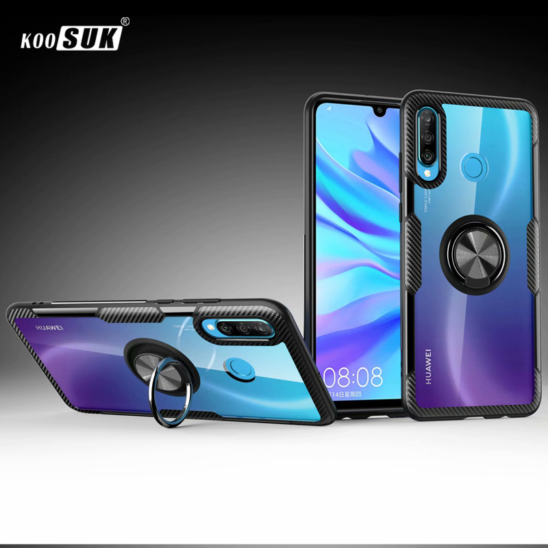 For Huawei P30 Lite Case Cover Luxury Transparent Carbon Fiber Full Protection Ring Magnetism Case For Huawei P30 Pro Case Coque