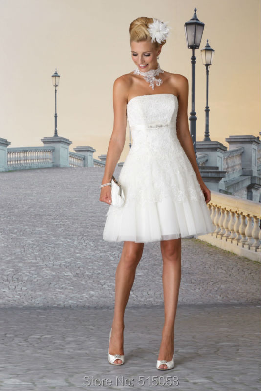 Elegant Lace Appliques White Tulle Short Mini Wedding Dresses ...