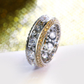 Hot Rings in size 5,6,7,8,9,10 Plated by Gold and Rhodium Setting with High grade cubic zirconia Circle Rings