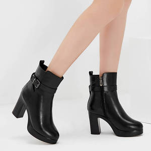 Image 5 - MORAZORA/2020; натуральная кожа; натуральная шерсть; зимние ботинки; Модные ботильоны; женские ботинки на платформе; женские зимние ботинки на высоком каблуке