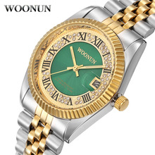 WOONUN Top Brand Logo Luxury Gold Watches Men Silver Gold Steel Band Analog Quartz Date Rhinestone Diamond Watches For Men Reloj