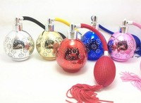 60ml Printed Color Glass Cylinder Balloon Spray Perfume Bottle Atomizer Cosmetic Refillable Bottles Air Bag Cover