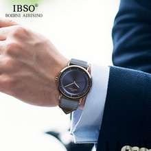 2019 IBSO 7MM Ultra-thin Mens Watches Top Brand Luxury Genuine Leather Strap Fashion Casual Quartz Watch Men Wristwatches