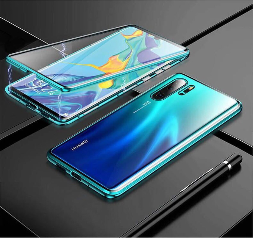 R-just Magnetic Metal Bumper Case for Huawei P30 Lite Tempered Glass Front Back Cover (14)