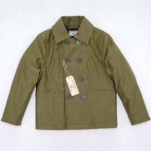 Image 1 - BOB DONG manteau dhiver Double boutonnage en laine pour hommes, veste de paon doublée pont, 740
