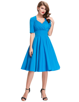 Vintage Style Swing dress elegant 1950s 60s kyliejenner victorian Retro Pinup Office work Evening wedding party Dress Blue
