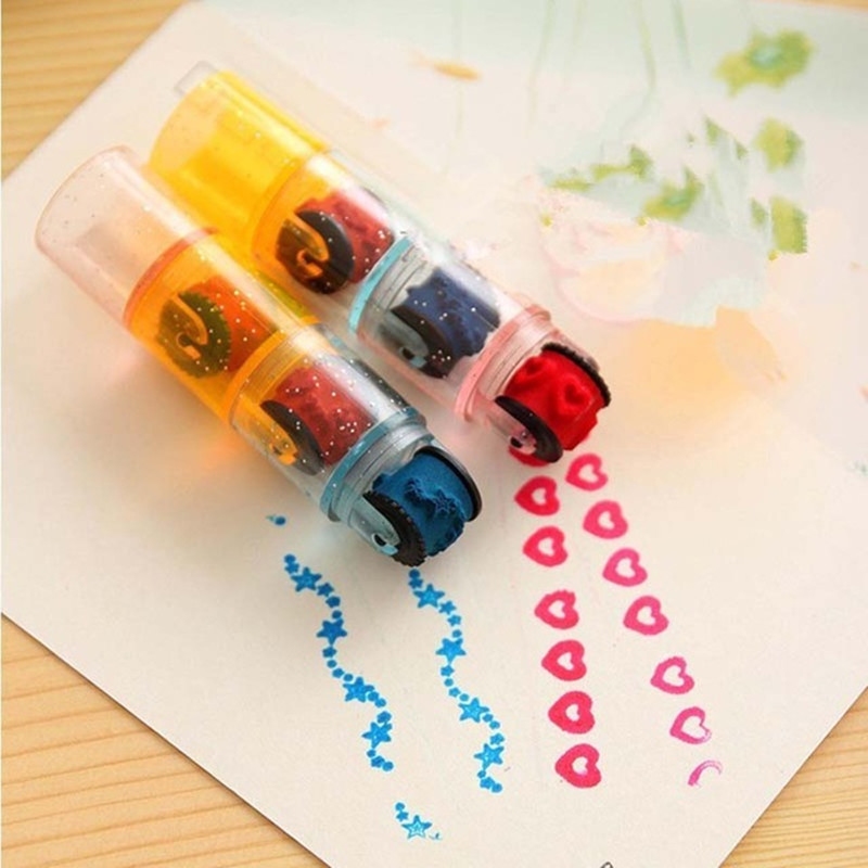 6 Pcs 2 Set Combination Stamps Pen Set Cycle Roller Stamp Kids DIY Handmade Scrapbook Photo Album Students Drawing Toy Set