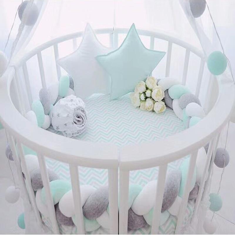 1,5 M/2 M/3 M bebé hecho a mano nudo nórdico recién nacido cama parachoques Largo anudado almohada trenzada para dormir cama de bebé cuna con parachoques decoración de la habitación infantil